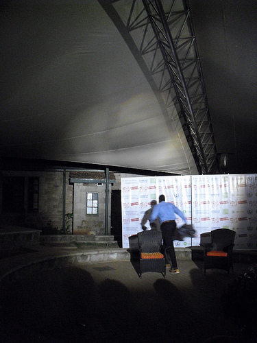 Poor lighting and distracting background banner at the Nairobi performance, 15th December 2012